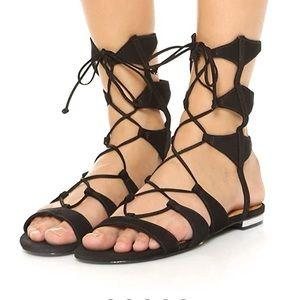Schutz Black Gladiator Lace Up Leather Slip On